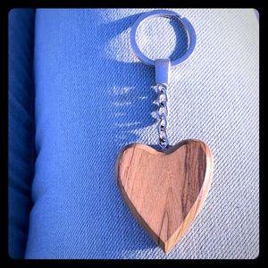 Heart wooden key chain